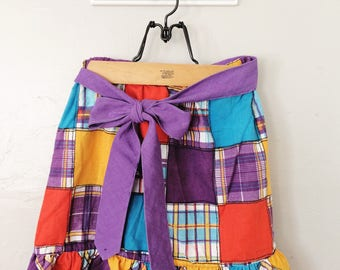 Girls Madras Skirt // Girls Plaid Ruffle Skirt // KIDS Size 6X or 7 // Back to School Clothes