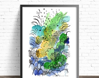 Abstract Landscape Print. Abstract painting print. Abstract Art prints. Modern watercolor. Green watercolor print. Line drawing print