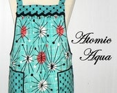 Michael Miller ATOMIC Aqua Pinafore Apron, mid-century modern inspired, loose-fitting no-tie-apron, all day apron, MADE-to-ORDER in 3 sizes