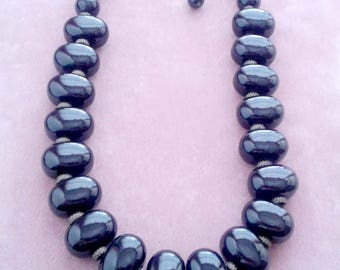 Lucite Beaded Necklace Big Black Shiny Vintage Retro