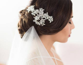 Wedding Hair Accessories, Bridal Headpiece, Silver Crystal Headpiece, Hair Vine, Flower Headpiece, Bridal Accessories, Crystal Hair Piece