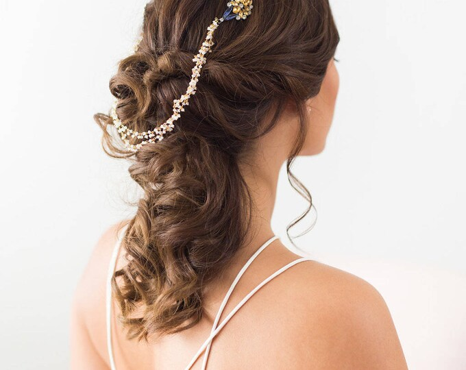 Art Deco Draped Headpiece, Moonstone Draped Headpiece, Blue and Yellow bridal hair chain, Gold Forehead Piece, Draped Hair piece, headpiece