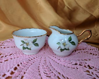 Small Size Cream and Open Sugar Set Creamer White Flower Magnolia Tea for One *eb