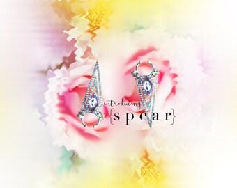 Oversized Septum, spear septum, Fake Septum Ring, crystal septum, Givenchy inspired septum, body Jewelry, gypsy jewelry, tribal septum