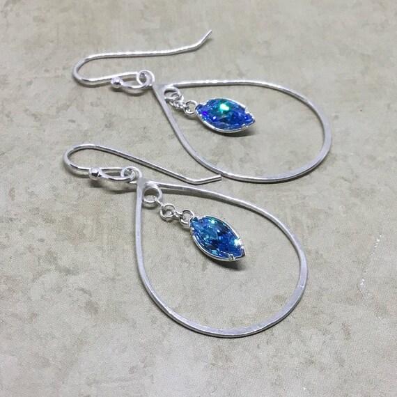 Sterling Silver Teardrop Earring w-Aquamarine  CZ Dangle , Minimalist, Hand Forged, Metal craft, Silver Earrings, Teardrop Earring, SRAJD