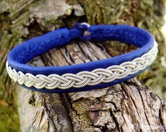 Blue Leather Cuff LIDSKJALV Handmade Traditional Swedish Sami Bracelet for Men and Women
