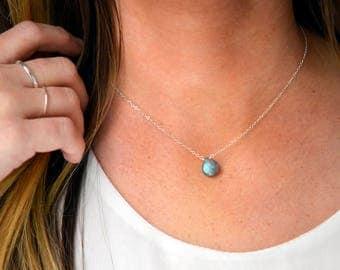 Labradorite Necklace, 14kt Gold Fill or Sterling Silver, Stone Necklace, Labradorite Pendant, Dainty Necklace