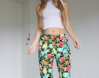 90s Floral Capri  Pants Small