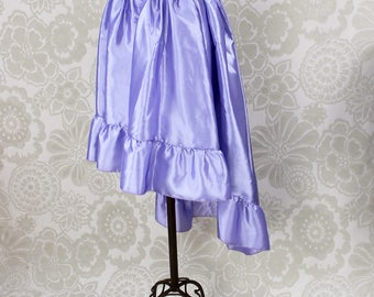 "Steampunk High Low Cecilia Skirt, Longer Length -- Lavender Taffeta -- Ready to Ship -- Best Fits Up To 48"" Waist"