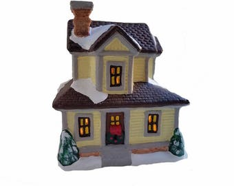 Yellow Farmhouse - Christmas village house figurine, lighted Christmas decoration, miniature house, Victorian Christmas, gift for farmer