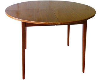 WALNUT Mid Century Modern Round DINING TABLE + 2 Leaves