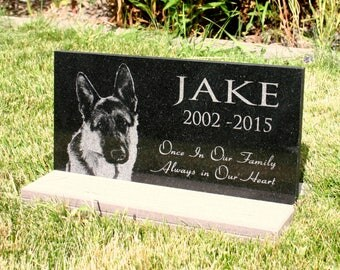 Pet Grave Marker Pet Memorial  Plaque Granite Head Stone w/optional *Base Stand* Customized with YOUR Pets Photo Outdoor/Indoor Stand