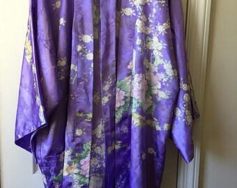 Lilac Purple Crane Kimono Cherry Blossom Floral Robe Lingerie Dressing Gown