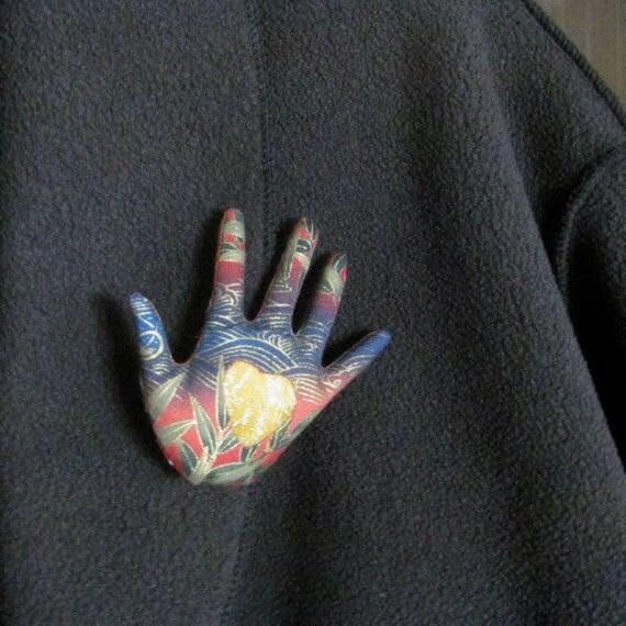Gold Heart in Hand Brooch ~ Hamsa Pin ~ Ready to Ship