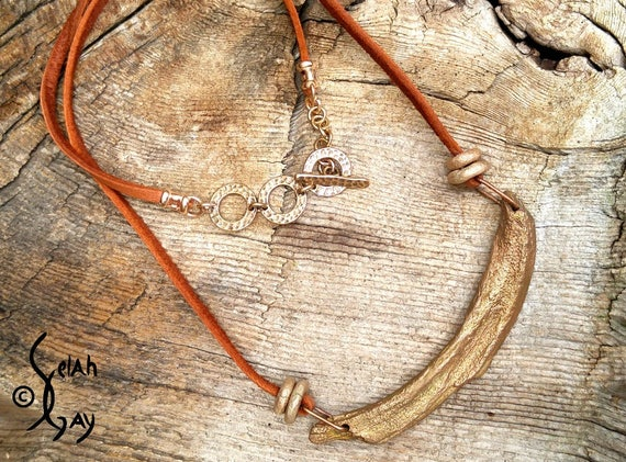 """Earthy Organic """"Slice of Colorado"""" Bronze and Leather Choker Necklace"""