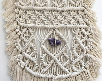 Macrame Driftwood Wall Hanging // Purple Amethyst Crystal, Boho Home Nursery Decor, Ivory Textile, Woven Art Tapestry, Jungalow Style