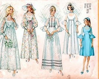 Romantic Vintage 1970s Simplicity 9218 Wedding or Bridesmaid Dress Sewing Pattern B31.5