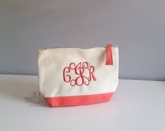 Personalized Cosmetic Bag, Monogramed coral Make-up bag, personalized Bridesmaid gift, mother's day gift,