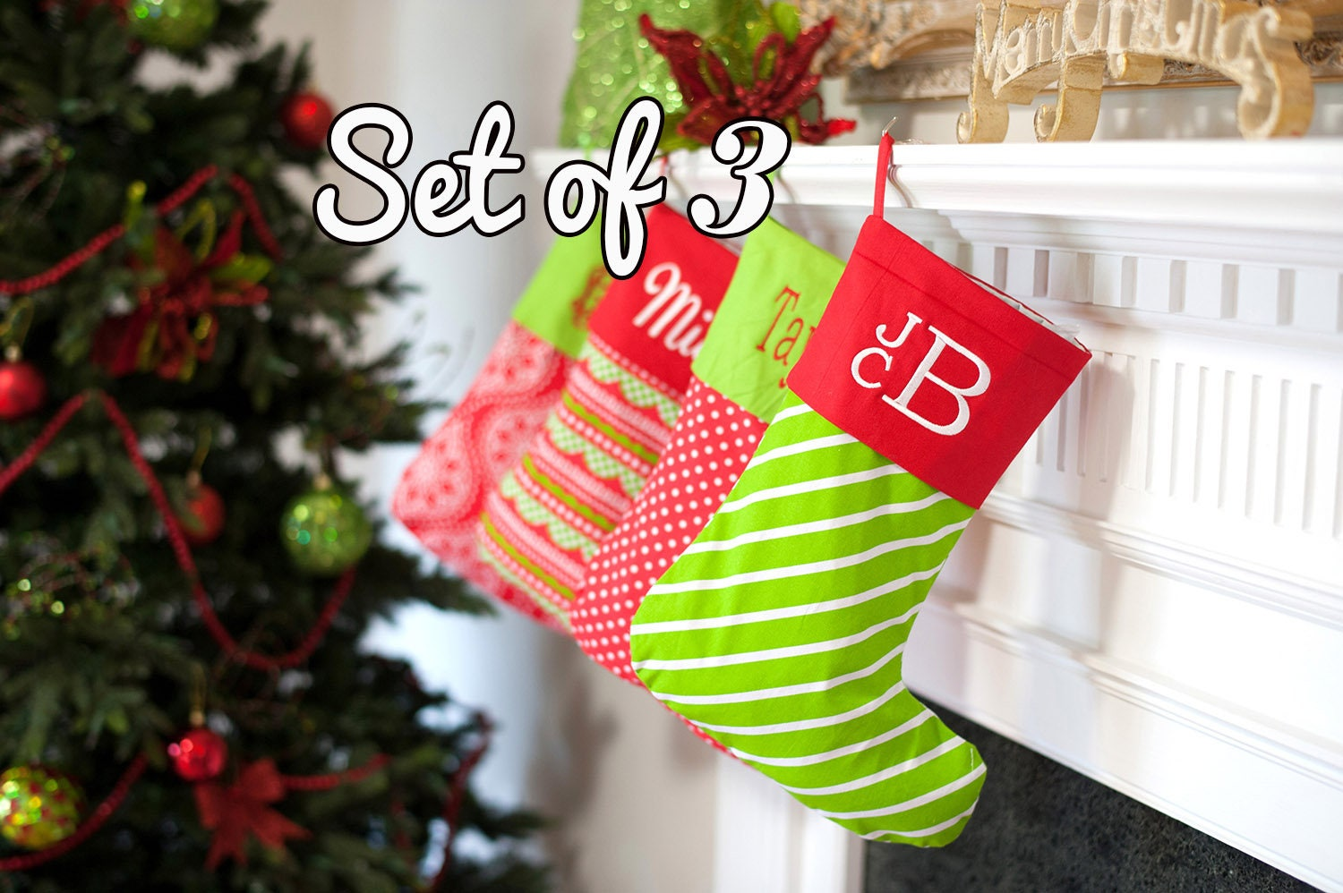 personalized family christmas stockings set of 3 monogrammed