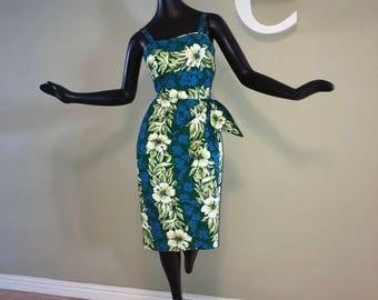 Vintage 50s Rockabilly Sarong Dress 1950s 1960s Hawaiian Wrap Tiki Bombshell Pin Up Pinup Wiggle Dress Blue Green Cotton Hibiscus Small