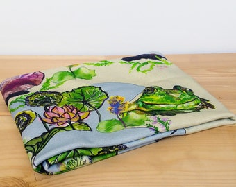 Organic Baby Blanket , Baby Organic Swaddle , Floral Blanket ,  Receiving Blanket  , Baby Gift for Girls , Frogs  Blanket, Lilly Blanket