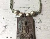 Meditation Buddha Necklace. Amulet Necklace. Yoga Jewelry. Gifts for Yogi. Gifts Under 75. Layering Necklace. Meditation Gift. Bronze Buddha