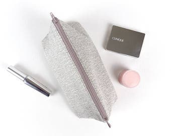 Silver Metallic Fabric Makeup Bag Sparkly Cosmetic Bag Grey Makeup Storage Womens Gift