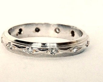 Vintage 14K Diamond Eternity Band in White Gold, Wedding,Anniversary. Appraisal Included