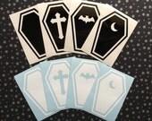 "Coffin vinyl decal [2.7x4""] - Car decal, Laptop sticker, Spooky, Goth, Macabre, Horror, Halloween, Hallowe'en"