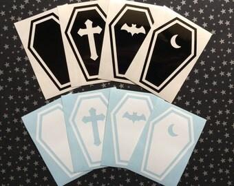 Coffin vinyl decal - Car decal, Laptop sticker, Spooky, Goth, Macabre, Halloween, Hallowe'en