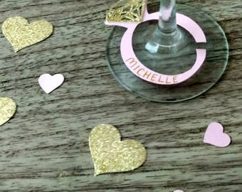 Wedding Decoration, Wine Glass Marker, Wine Tag, Bridal Shower Decoration, Pink and Gold Wedding, Wedding Glass Markers, Reception Decor
