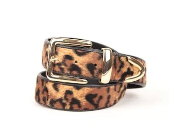 90s leopard faux fur belt // gold tone metal