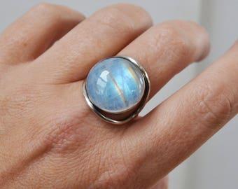 Quartz over Hematite Ring Crystal Globe Sterling Silver Ring