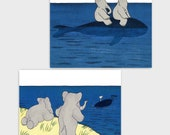 "Baby Whale Decor, Babar the Elephant Prints (Blue Nursery Wall Art, Boys Girls Room, Twins Baby Shower) ""Whale Adventure"" -- Set of 2 SALE"