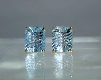 18k Yellow Gold Blue Topaz Fancy Cut Stud Earrings Fine Quality Jewelry DanPickedMinerals