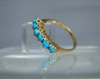 Antique 14k Yellow Gold Persian Turquoise Ring Size 8 Well Matched Bright Blue Cabochons DanPickedMinerals
