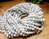 White Howlite Round 6mm or 8mm Beads - ONE STRAND - (S131B11-01)(S131B11-02)