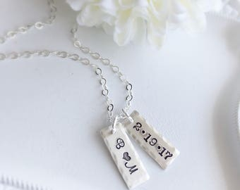Personalized Necklace . Name Necklace . Date Necklace . Initial Necklace . Engraved Jewelry . Gift for Mom . Bridesmaids Jewelry . Custom