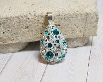 Swarovski blue zircon pendant - Swarovski jewelry - birthstone jewelry - December necklace - Swarovski crystal necklace - birthstone charm