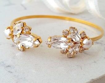 Bridal Wedding Bracelet,Pearl Crystal Bracelet,Bridal Crystal Cuff,Bridesmaids Jewelry,Cuff Bracelet,Open cuff Bracelet,Adjustable Bracelet