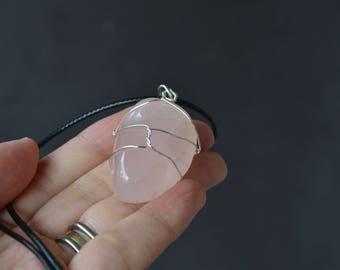 Valentines Day Gift, Rose Quartz Necklace, Heart Chakra, Love Stone, Fertility Stone, Love Stone, Nature Inspired, Gemstone Jewelry