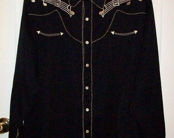 Vintage Men's Black Embroidered Musical Notes Pearl Snap Western Rockabilly Shirt by Scully XL Only 40 USD