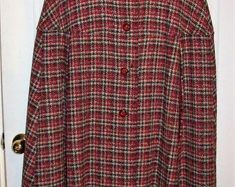 Vintage 1960s Ladies Cranberry Red Plaid Wool PENDLETON Cape Only 99 USD