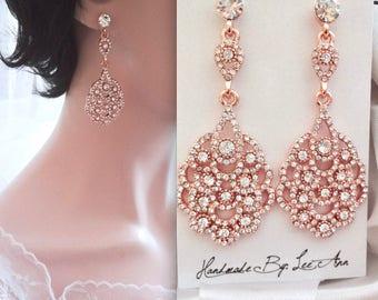 Rose gold chandelier earrings, Rose gold crystal wedding earrings, Brides earrings, Peacock earrings ~ Rose gold crystal earrings, NINA