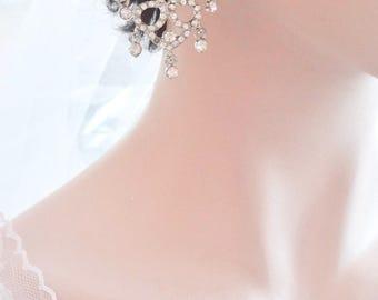 "Chandelier earrings, Crystal rhinestone chandelier earrings, 3"" long- Brides earrings, Pageant,Prom, Statement earrings,"