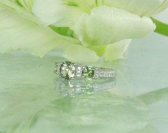 Green Sapphire Ring, Herkimer Diamond Ring, Sapphire Ring, September Birthstone Ring, Sapphire Ring, Three Stone Ring, Micro Pave Ring