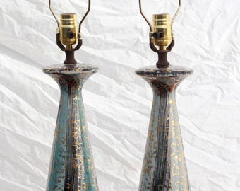 Pair of Vintage 1950's Mid Century Modern Baby Blue & Gold Art Pottery Table Lamps - Great for Atomic Age Living Room / Bedroom