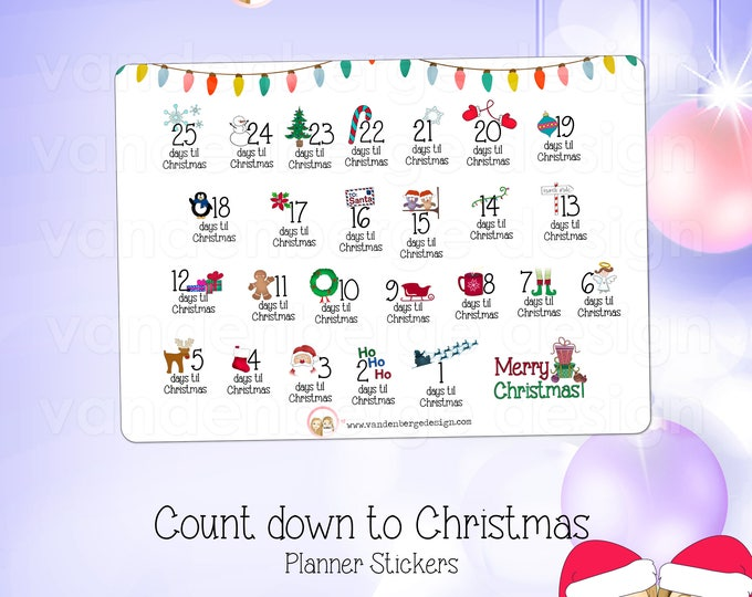 Planner Calendar Stickers- Count Down to Christmas -Perfect for all planners