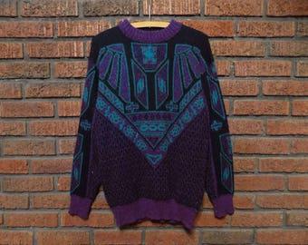 Vintage 80s Campus Sparkly Knit Sweater Men's S / M