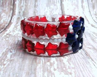 Patriotic Stars Bracelet, Independence Day, 4th of July Bracelet, Fourth of July Bracelet, Red White and Blue Bracelet, Holiday Bracelet